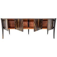 Modern Avec Credenza Sideboard in Ziricote Wood by Goebel