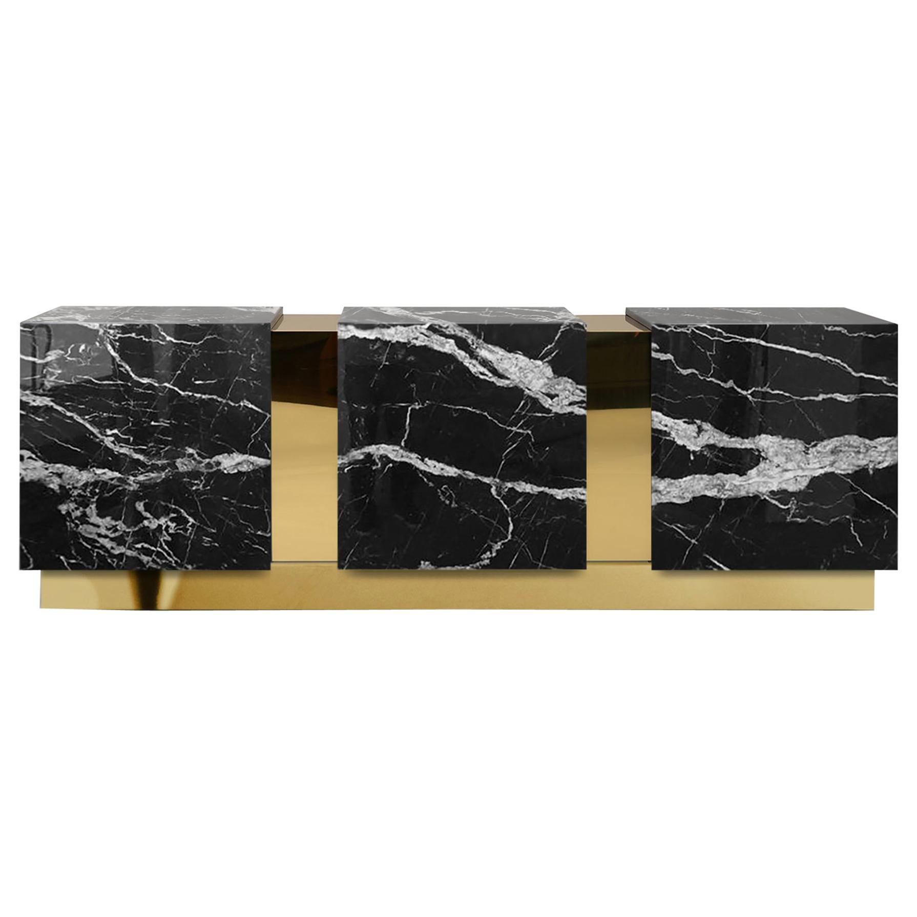 Modern Baikal Black Marble Polished Brass Sideboard Credenza