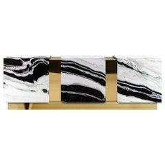 Modern Baikal Panda Marble Polished Brass Sideboard Credenza