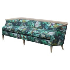 "Modern Baker Barrel Back Bleached Mahogany Sofa in Cole & Son ""Icons"" Fabric"