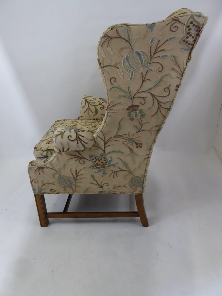 Modern Baker Chippendale Style Wingchair Crewel Stitched Fabric, 1950s For Sale 5