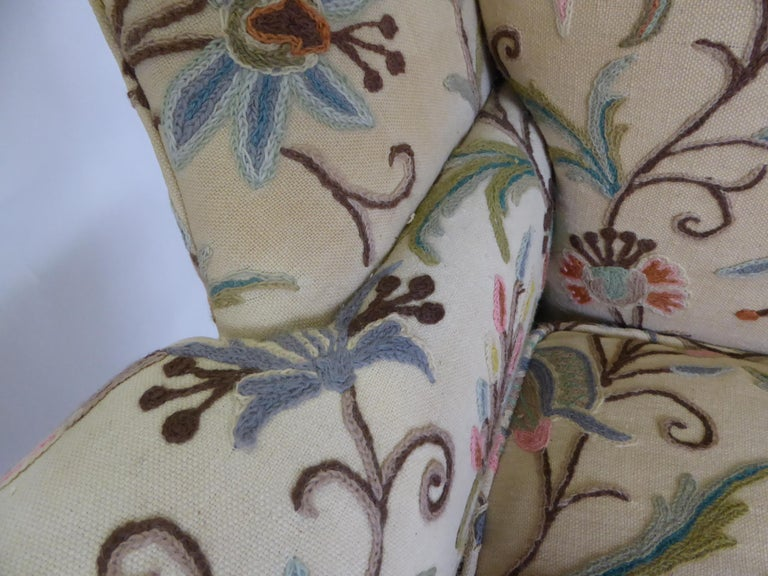 Modern Baker Chippendale Style Wingchair Crewel Stitched Fabric, 1950s For Sale 8