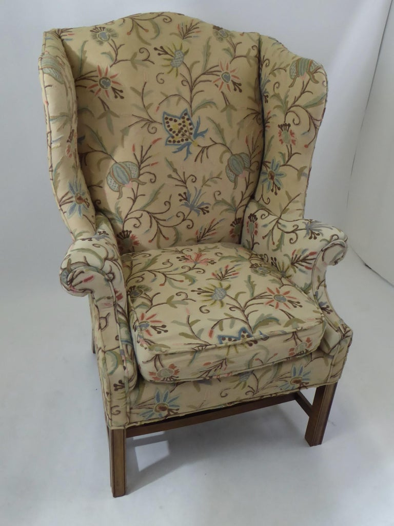 American Modern Baker Chippendale Style Wingchair Crewel Stitched Fabric, 1950s For Sale