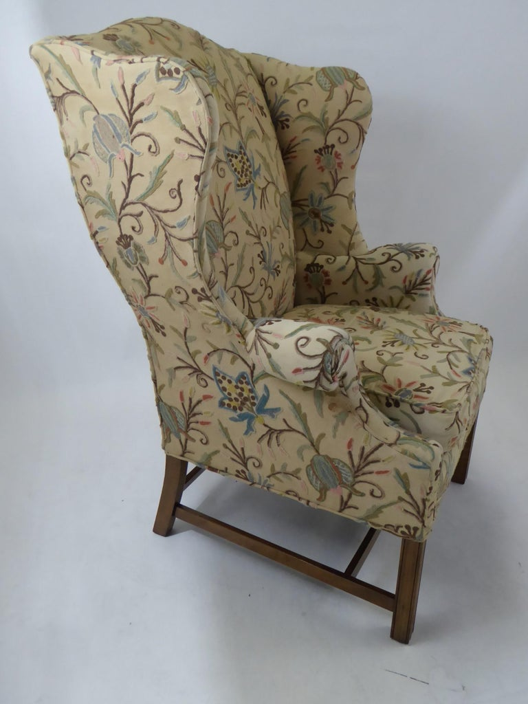 Mid-20th Century Modern Baker Chippendale Style Wingchair Crewel Stitched Fabric, 1950s For Sale