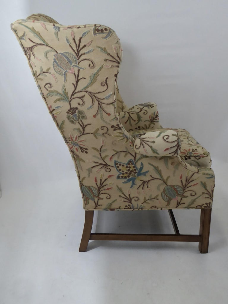 Modern Baker Chippendale Style Wingchair Crewel Stitched Fabric, 1950s For Sale 1
