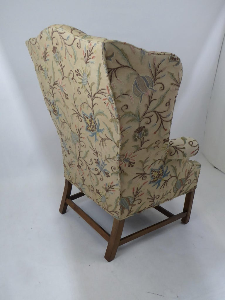 Modern Baker Chippendale Style Wingchair Crewel Stitched Fabric, 1950s For Sale 2