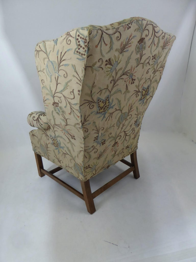 Modern Baker Chippendale Style Wingchair Crewel Stitched Fabric, 1950s For Sale 4