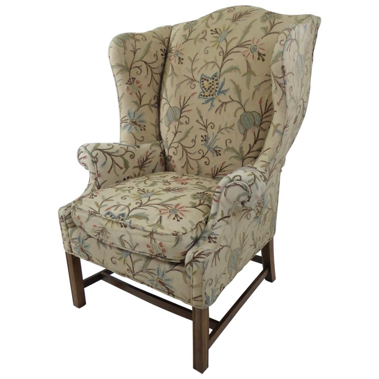 Modern Baker Chippendale Style Wingchair Crewel Stitched Fabric, 1950s For Sale