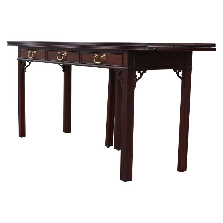 Modern Baker Flip Top Console Table Or Desk With Three Drawers And Brass Hardware