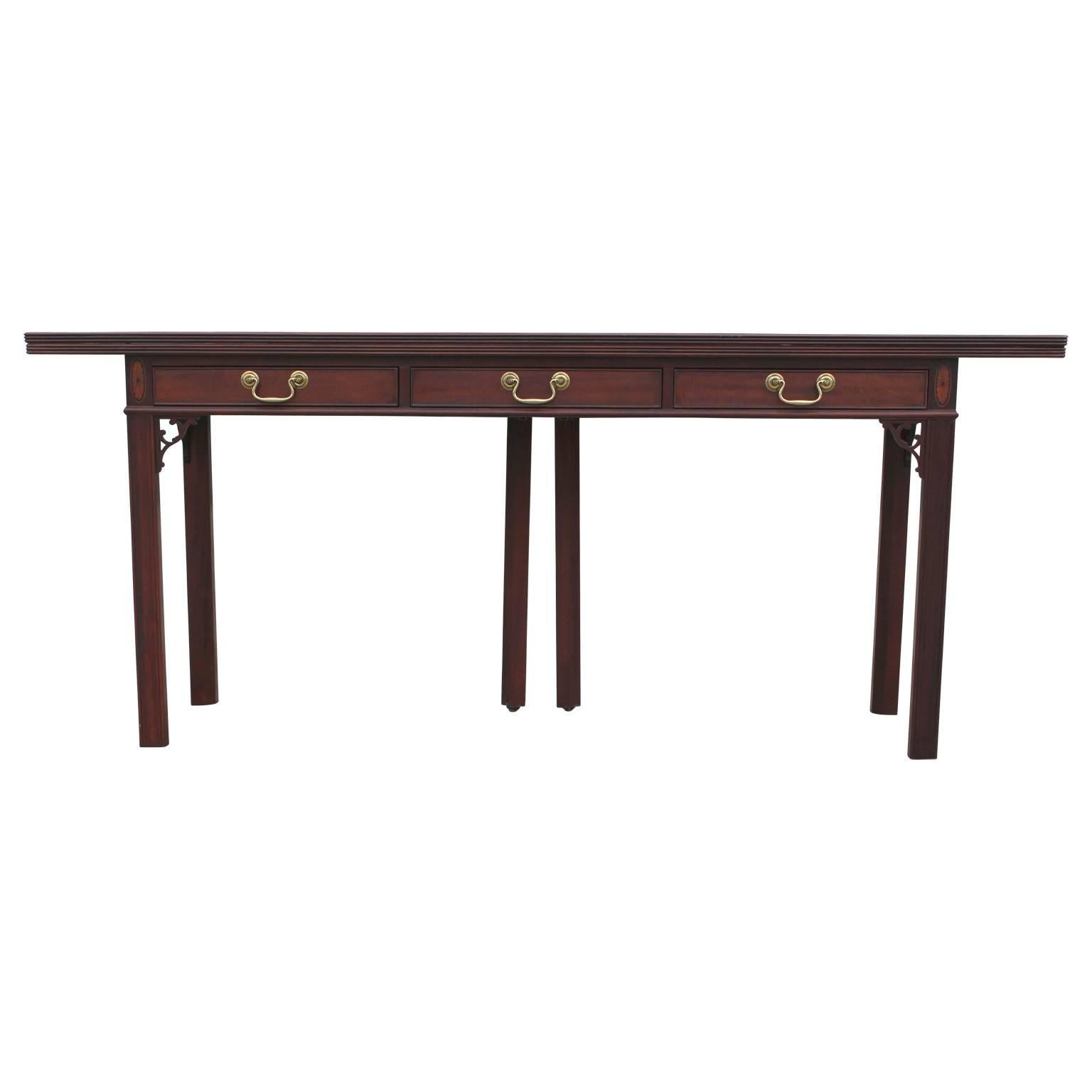 Modern Baker Flip Top Three Drawer Mahogany Console Table Or Desk For Sale
