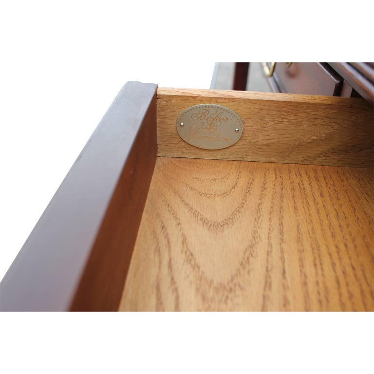 Modern Baker Flip Top Three-Drawer Mahogany Console Table or Desk  For Sale 2