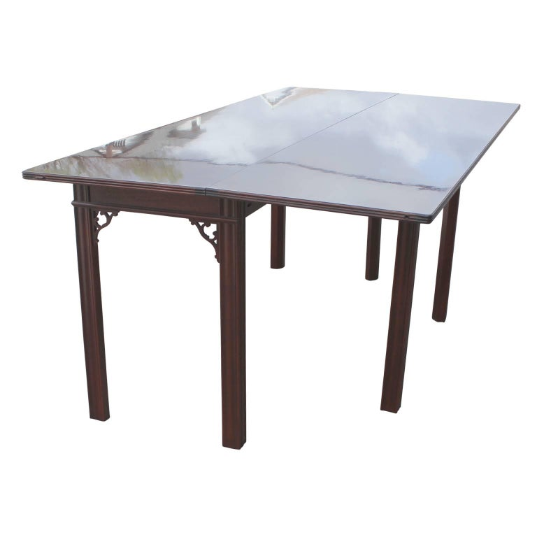 Brass Modern Baker Flip Top Three-Drawer Mahogany Console Table or Desk  For Sale