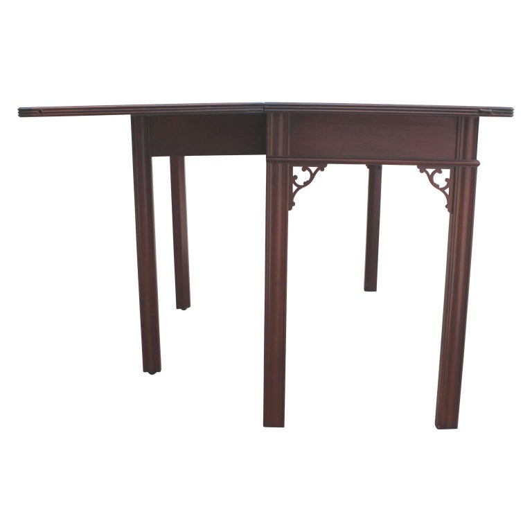 Modern Baker Flip Top Three-Drawer Mahogany Console Table or Desk  For Sale 1