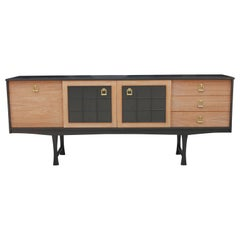 Modern Baker Style Two-Tone Credenza or Sideboard with Brass Hardware