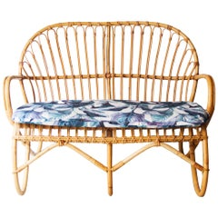 Modern Bamboo White Blue Bank of Two Seats, France, 1970