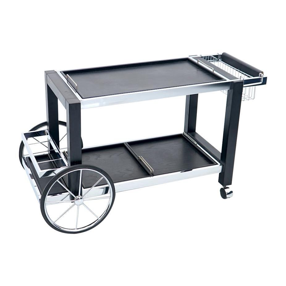 Modern Bar Cart in Chrome and Black Wood, France, 1980s