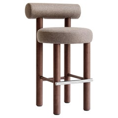 Modern Bar Chair Gropius CS2 in Wool Fabric with Wooden Legs by Noom