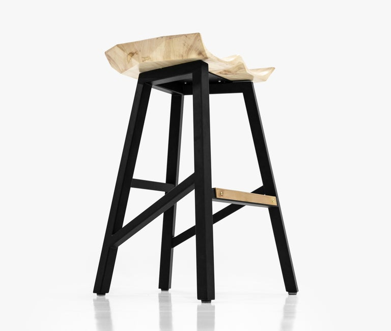 American Modern Bar Counter Stool in Wood with Brass by Goebel For Sale
