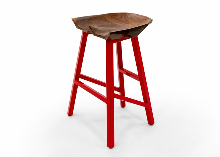 Modern Bar Counter Stool in Wood with Brass by Goebel In New Condition For Sale In Saint Louis, MO