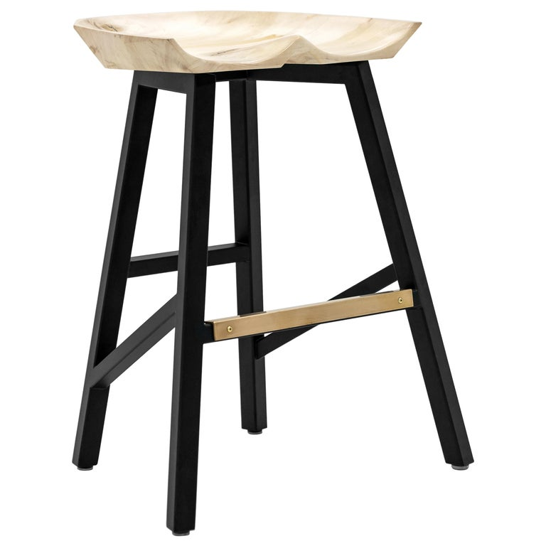 Modern Bar Counter Stool in Wood with Brass by Goebel For Sale