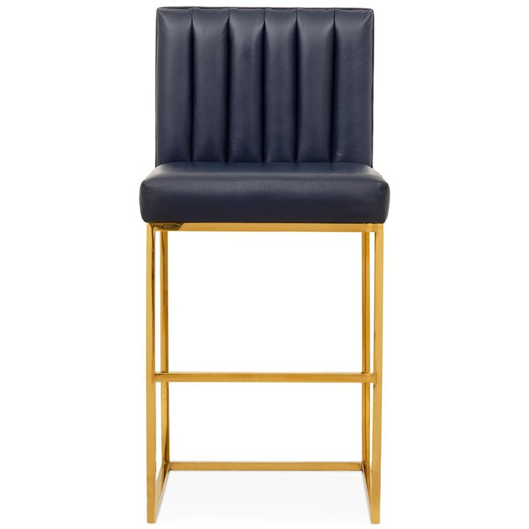 Modern Barstool In Brass And Navy Genuine Leather With