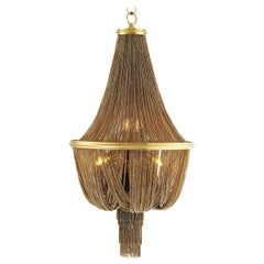 Modern Basket Chandelier with Gold Chains