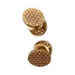 Modern Basket Weave Design 2-Sided 18 Karat Yellow Gold Cufflinks