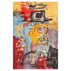 Modern Basquiat Inspired Art Area Rug. 6 ft 9 in x 9 ft 9 in