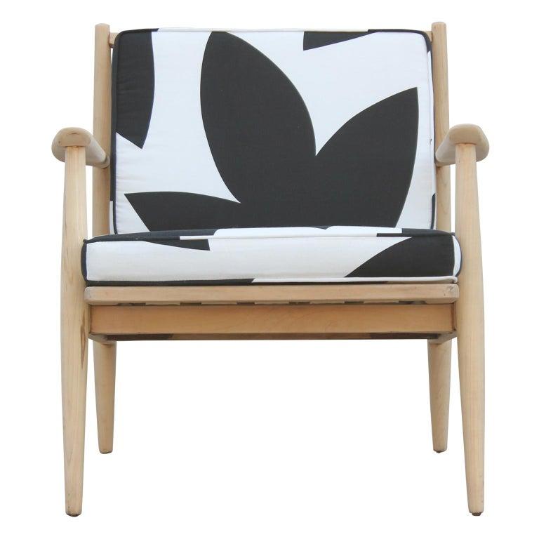 Mid-20th Century Modern Baumritter Black & White Geometric Light Walnut Danish Style Lounge Chair For Sale