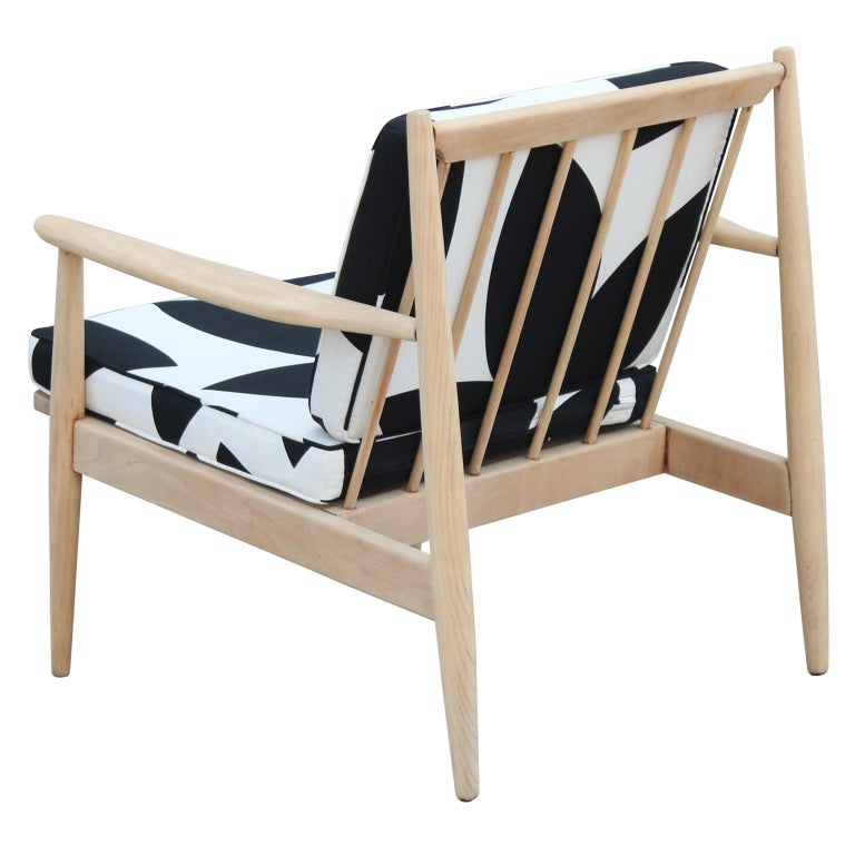 Modern Baumritter Black & White Geometric Light Walnut Danish Style Lounge Chair For Sale 1