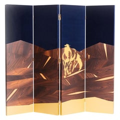 Modern Beautiful Folding Marquetry Screen, Palisander or Walnut Veneer, Brass