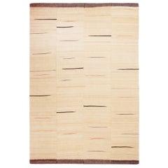 Vintage Beige and Brown Geometric Wool Kilim Rug