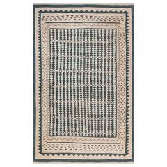 Modern Beige and Dark Blue Flat-Weave Rug