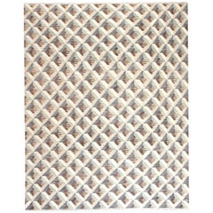 Contemporary Geometric Beige, Brown and Gray Handwoven Wool Rug
