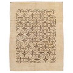Modern Beige Deco Style Handmade Geometric Floral Wool Rug