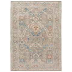 Modern Beige Sultanabad Handmade Floral Wool Rug