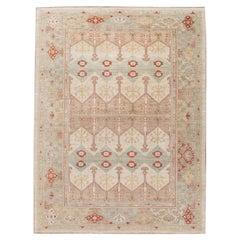 Modern Beige Sultanabad Handmade Geometric Floral Designed Wool Rug