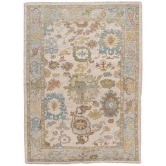 Modern Beige Sultanabad Handmade Wool Rug