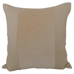 Modern Beige Tone-on-Tone Linen and Velvet Square Decorative Pillow