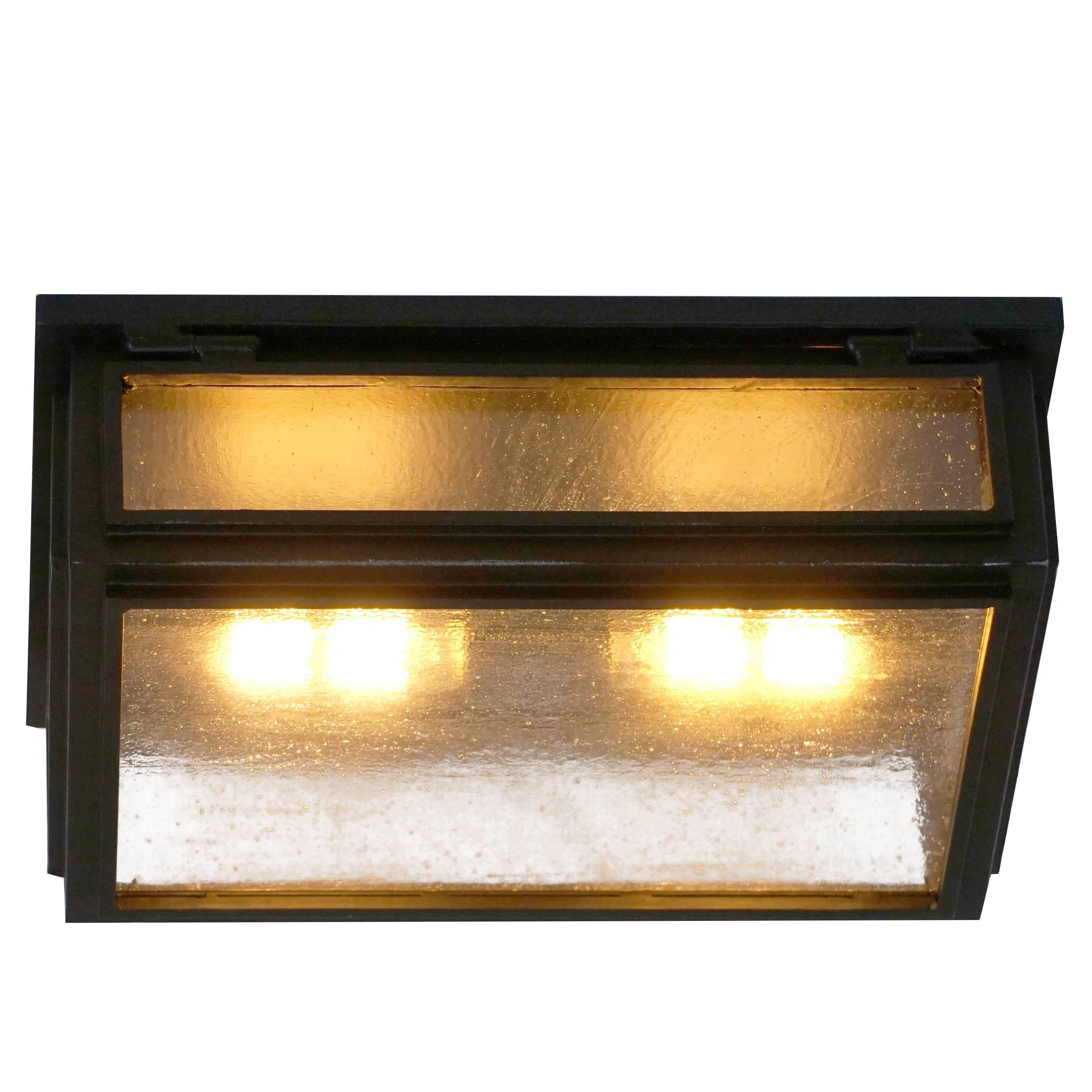 Contemporary Ceiling Light Iron Lantern with Seeded Glass Exterior Interior Grey