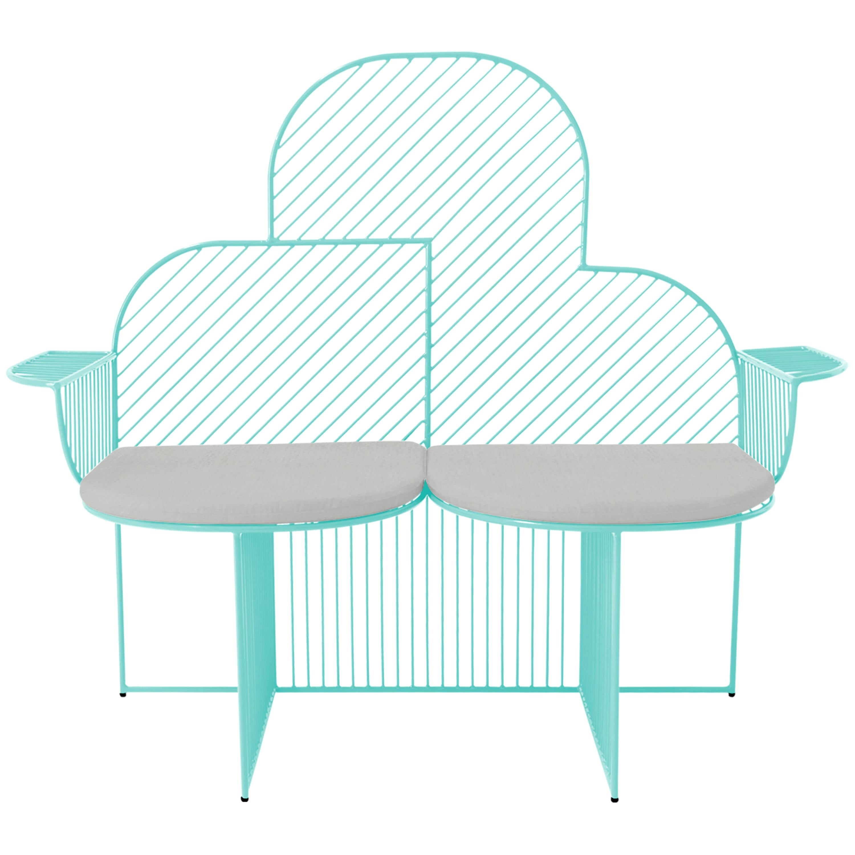 Modern Bench, Wire Cloud Bench by Bend Goods, Aqua