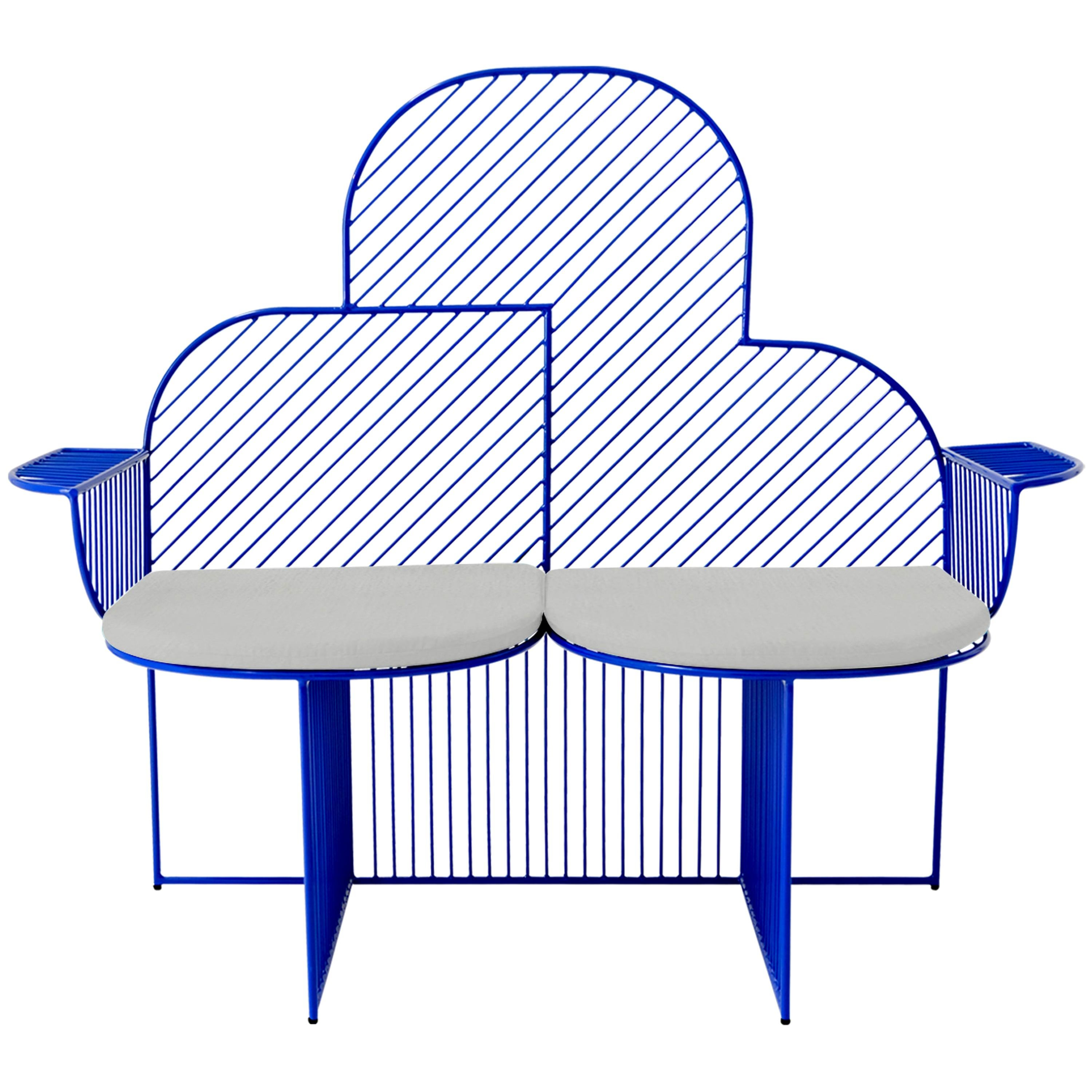 Modern Bench, Wire Cloud Bench by Bend Goods, Electric Blue