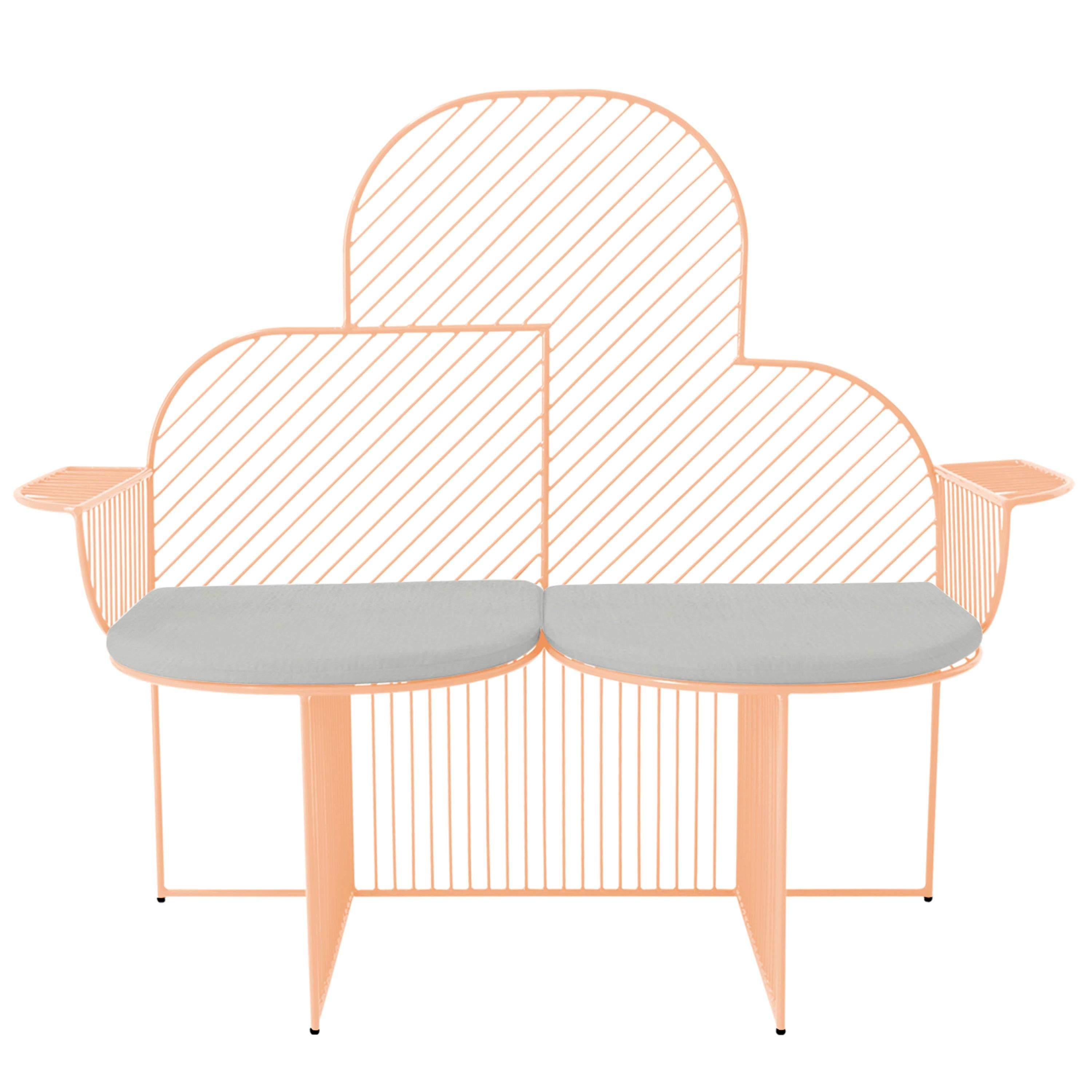 Modern Bench, Wire Cloud Bench by Bend Goods, Peachy Pink