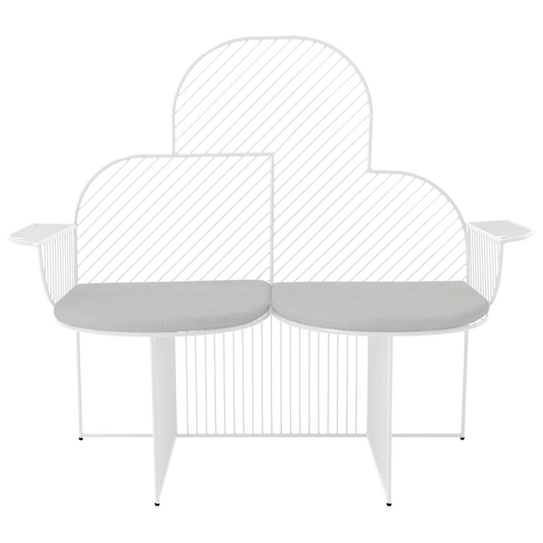 Modern Bench, Wire Cloud Bench by Bend Goods, White For Sale