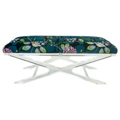 Modern Bench with Floral Channel Cushion and Lucite Base