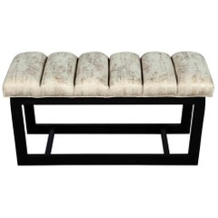 Modern Bench with Sleek Metal Base and Channeled Top