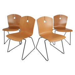 Modern Bentwood Stacking Chairs by Wieland, Set of 4
