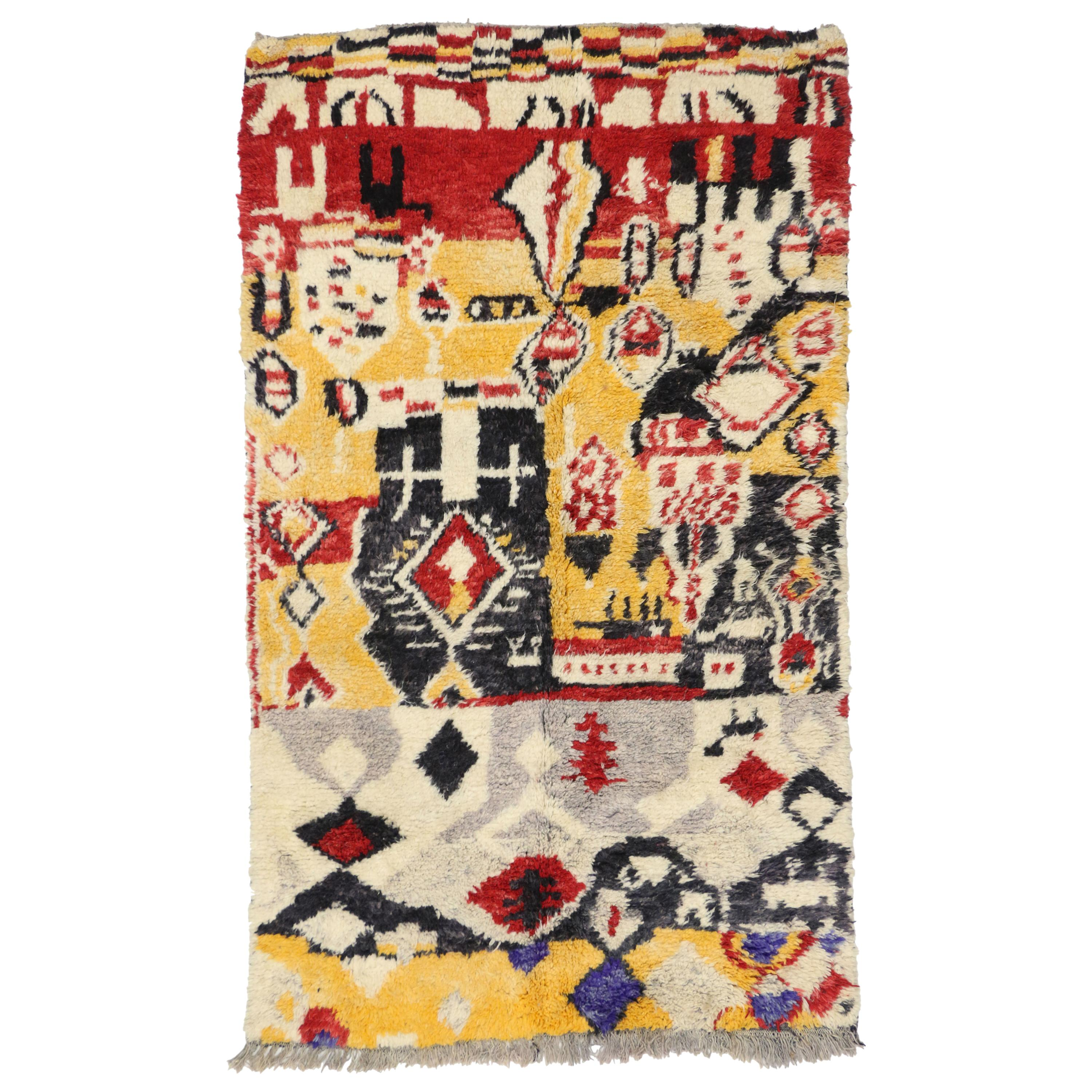 New Contemporary Berber Moroccan Rug with Expressionist Post-Modern Style