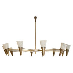 Modern Bespoke Ceiling Light Brass and Ivory Color Shades by Diego Mardegan