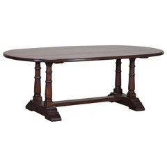 Modern Bespoke English Oval Oak Trestle Dining Table Crossbanded with Yewwood